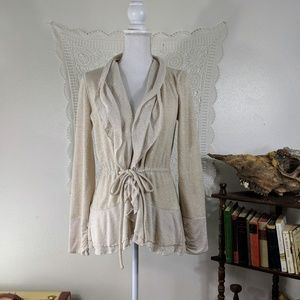 Saturday Sunday beige Anthro tie front cardigan
